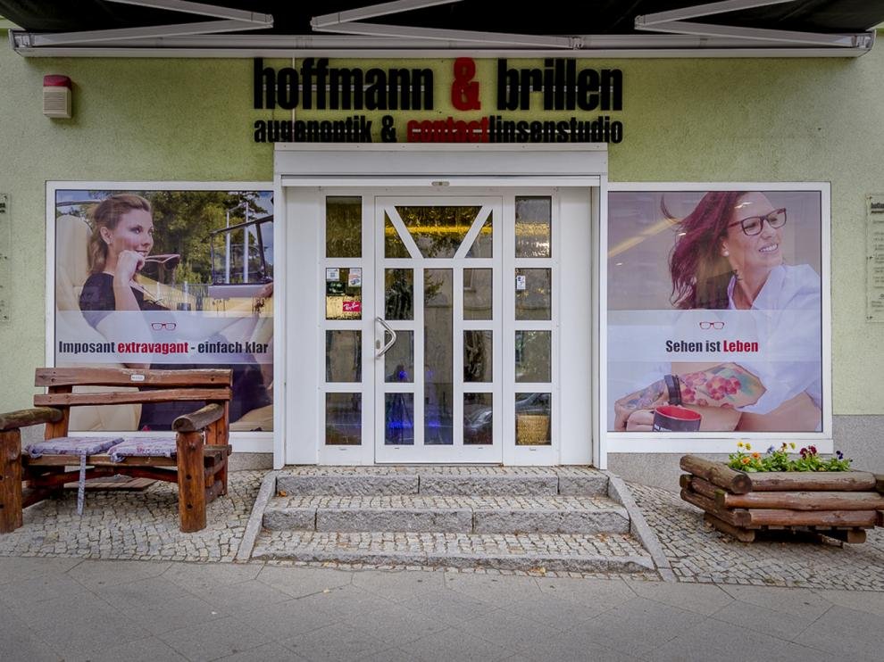 FOLIESIGN Schaufensterwerbung Lochfolie Digitaldruck hoffmann brillen Eberswalde